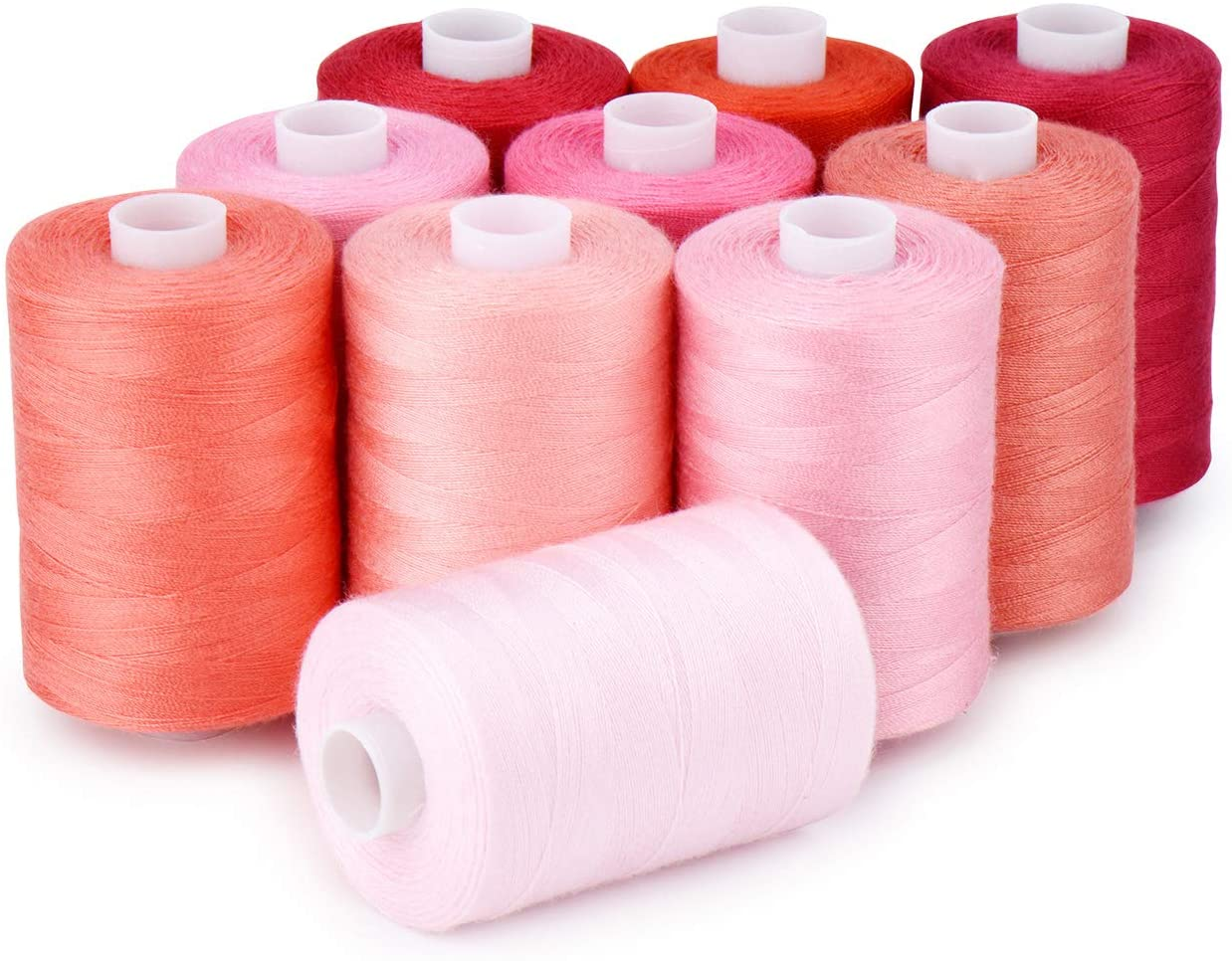 Sewing Thread 12 Colors Set 40S/2 for Sewing Machine,Quilting,Hand Sewing (10 Red Colors)
