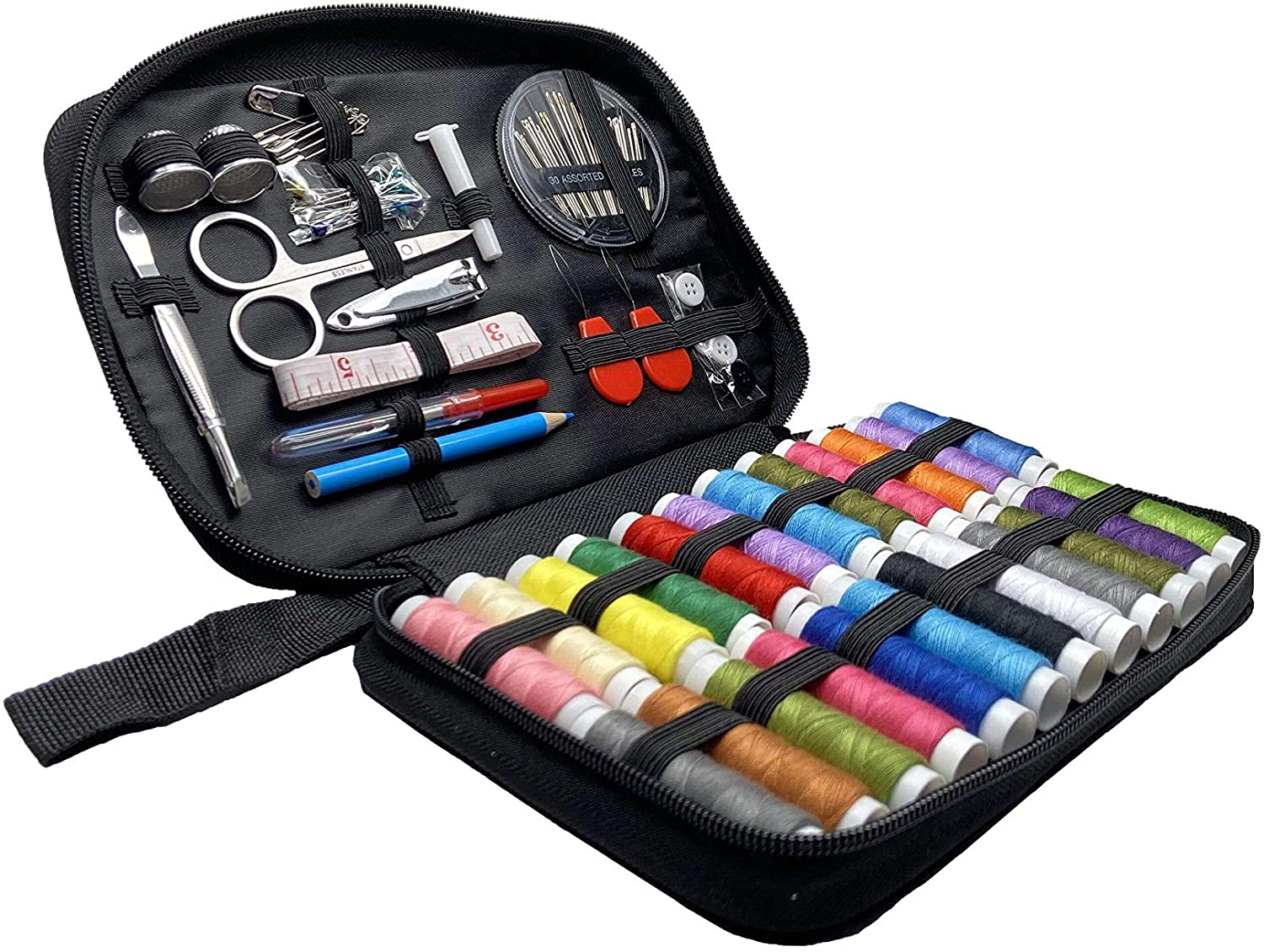 HNXAZG Sewing Kit,86 DIY Sewing Accessories,Portable Supplies with Sewing, 24 Colors of Sewing Thread, 40 Sewing pins, Sewing Kits for Adults, Travel Sewing Kit for with