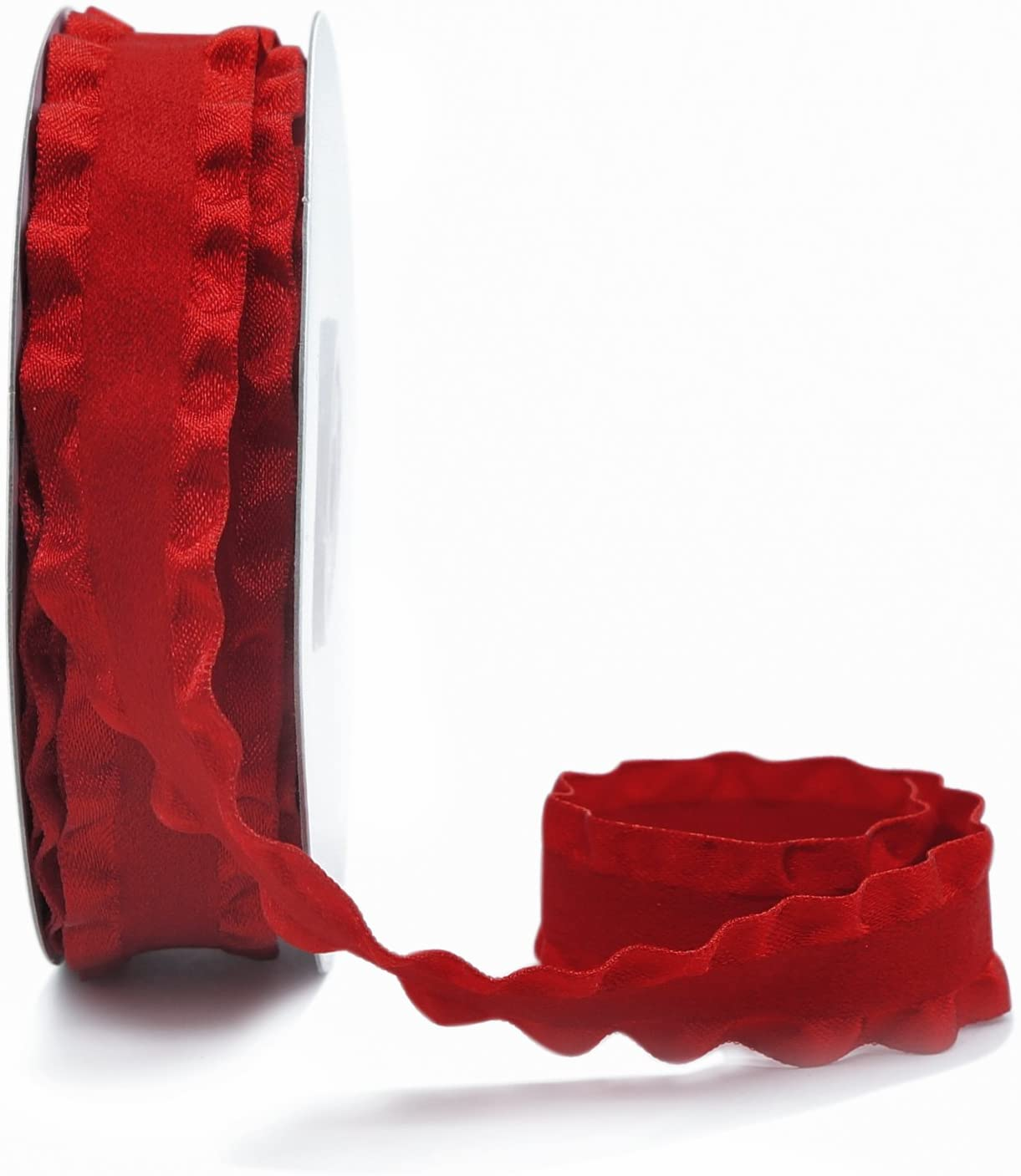 CT CRAFT LLC Double Ruffle Ribbon Suede (20 mm x 10 Yards) Red for Home Decor, Wrapping Gifts & Custom DIY Crafts Decorative