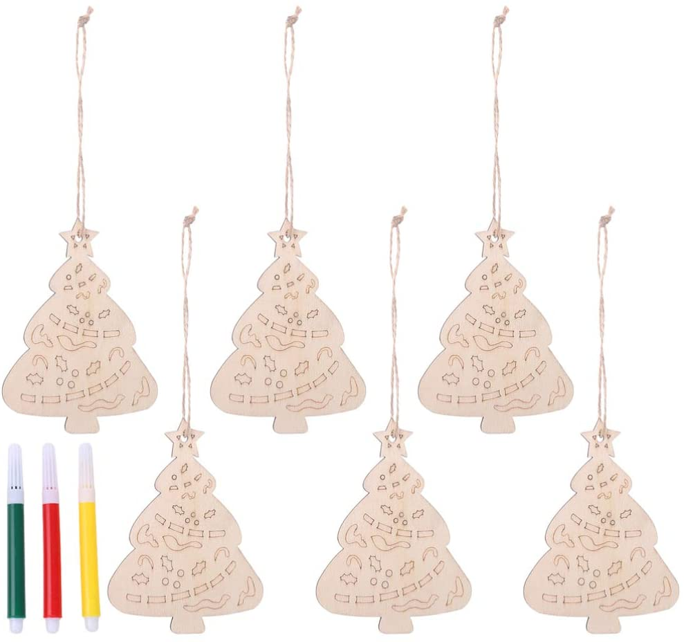 Amosfun 12PCS Christmas Wood Craft Wood Slices Tags Wood Ornaments Christmas Decorations Hanging Pendant for Painting