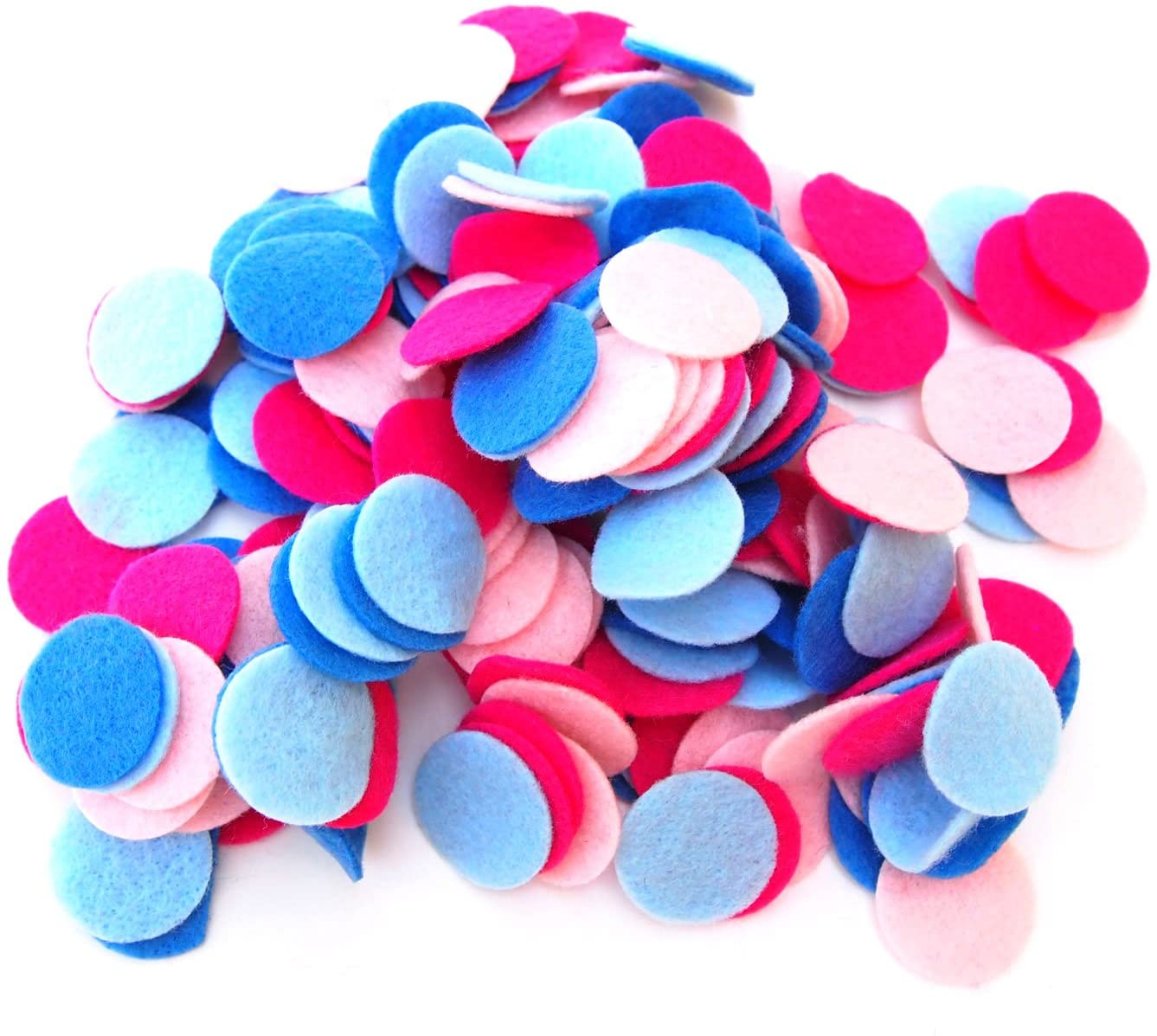 Playfully Ever After Pink, Light Pink, Militia Blue & Light Blue Craft Felt Circles (3/4 Inch - 300pc)