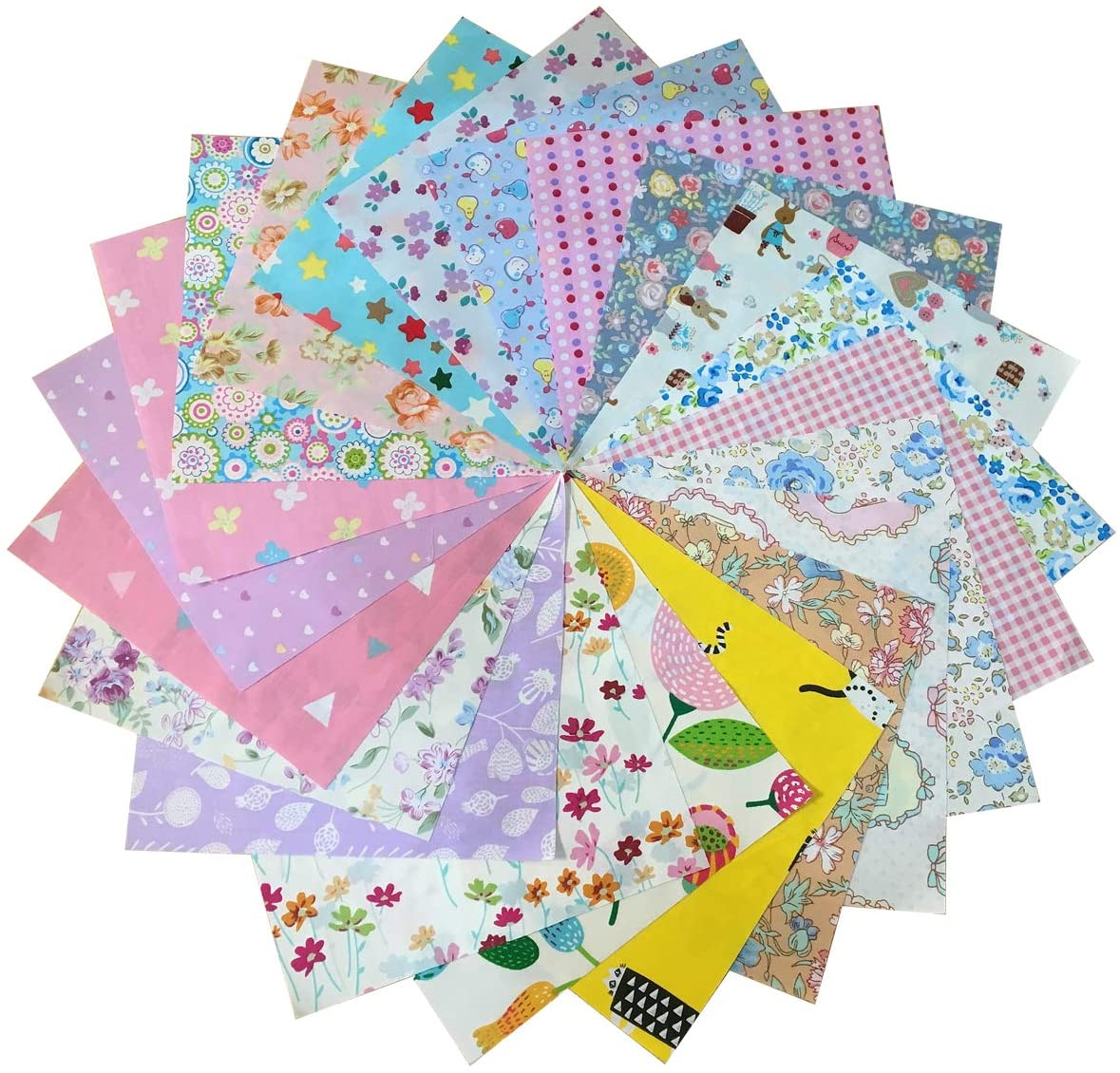 ANDRIMAX 50pcs Patchwork Different Patterns Floral Fabric Bundle Squares of 20cm x 20cm for Quilting Scrapbooking Sewing Project