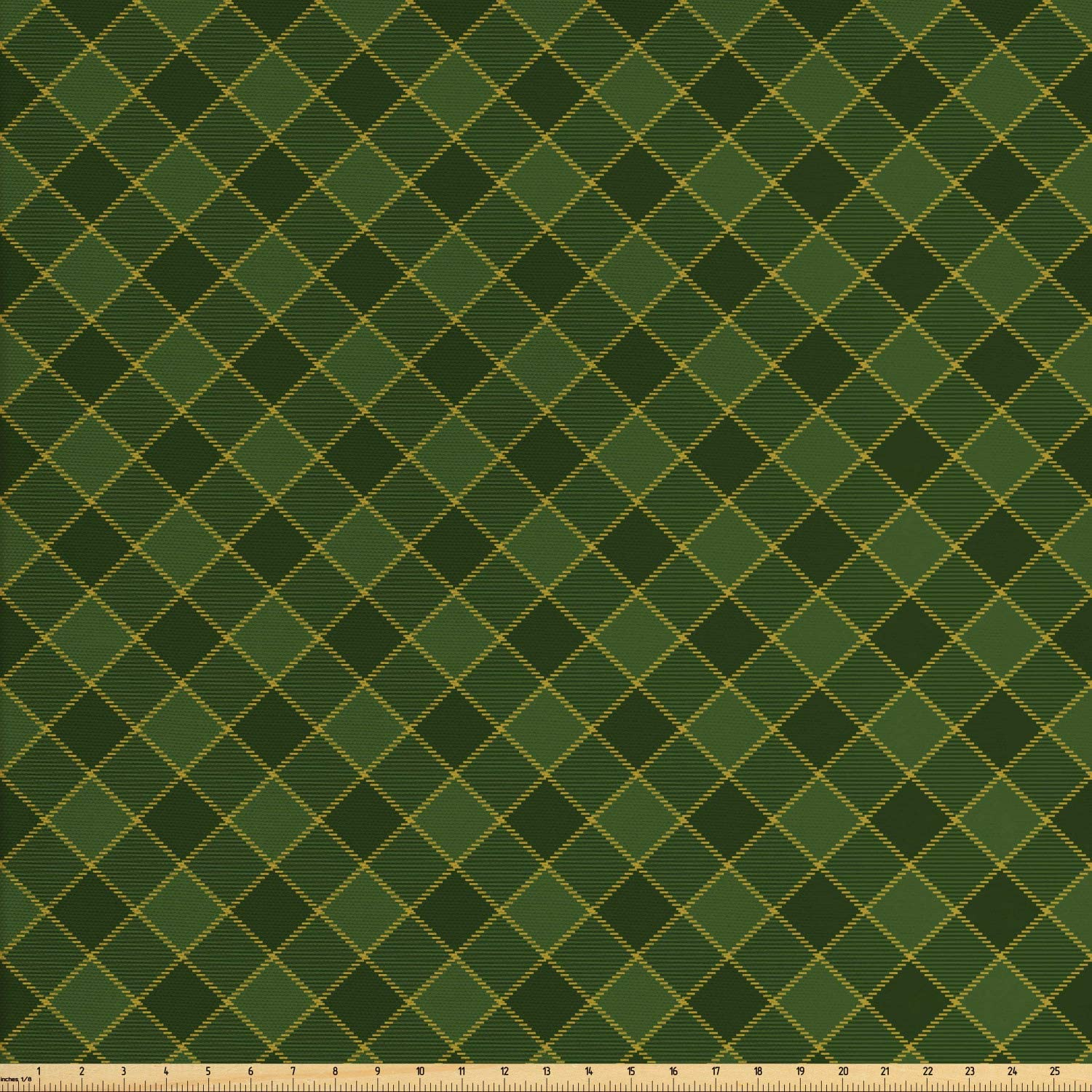 Lunarable Green Fabric by The Yard, Traditional Old Fashioned Argyle Pattern Retro Style Plaid, Decorative Fabric for Upholstery and Home Accents, 3 Yards, Forest Green