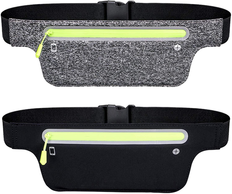 LUMIFOCO Running Belt Waist Pack Bag, 2 Pack Waterproof Running Pouch for Workout Exercise Gym Hiking Traveling Sports, Universal Waist Pouch Bag for Men Women, Black & Deep Gray