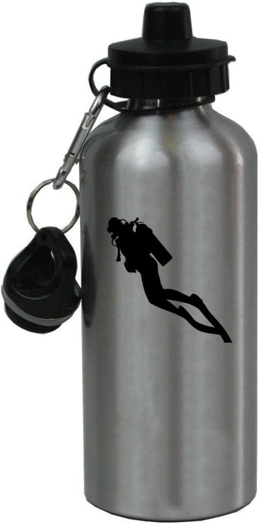 Personalized Custom Scuba Diving Aluminum Silver Finish 20 Ounce 600ML Sport Water Bottle Customizable