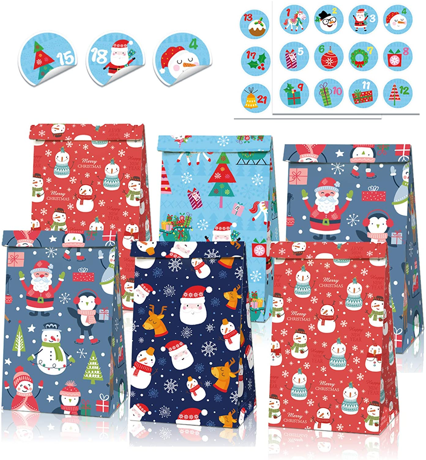 12PCS Christmas Kraft Paper Gift Bags, 4 Styles Kraft Gift Bags with Cute Sealing Stickers, Christmas Wrapping Paper Bags Set Xmas Supplies