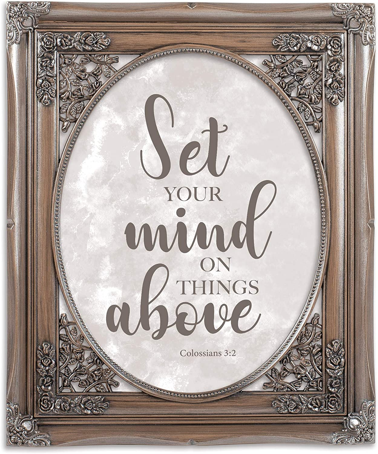 Cottage Garden Set Your Mind on Things Above Brushed Silver Floral Cutout 8 x 10 Table Top and Wall Photo Frame