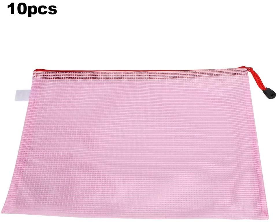 Mesh Storage Bags, File Folder Zipper Pouch, PVC Document Bag, for Documents Maps(Light pink)