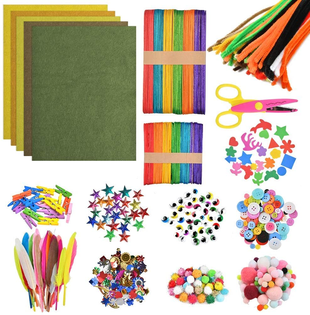 BUYGOO 1200+Pcs Colorful Pipe Cleaners Craft Kit, Arts and Crafts Supplies for Kids - Including Pipe Cleaner, Wiggle Googly Eyes, Pom Poms, Buttons, Feathers, Ice Cream Sticks, Sequins and More