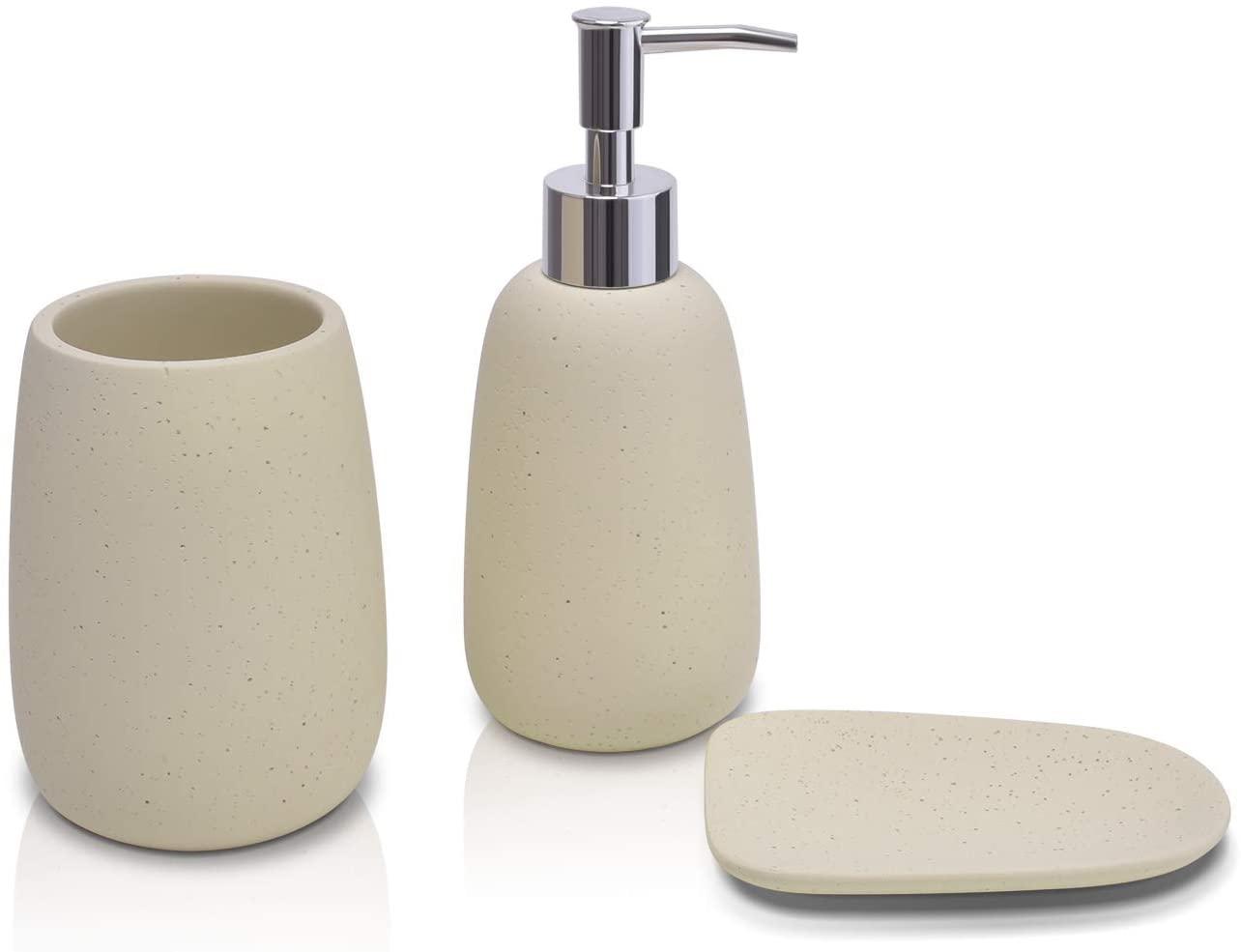 Bathroom Accessory Set Beige 3 Pieces Includes Bathroom Soap Dispenser, Bathroom Tumbler, Soap Dish