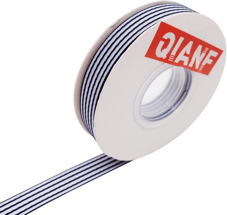 QIANF Navy & White Striped Ribbon, Gift Wrap Ribbon, 5/8 Inch by 25 Yard/Spool