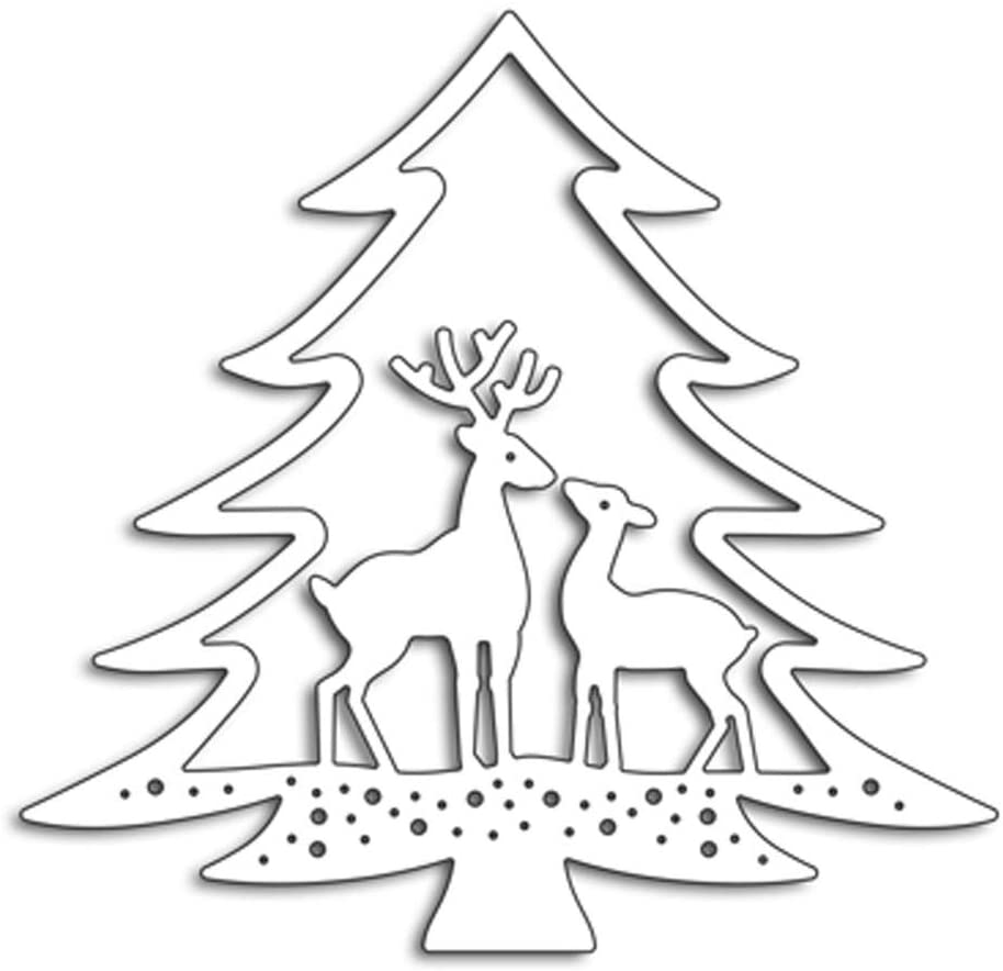 Christmas Tree Deer Metal Cutting Dies MouldTemplate Stencils for DIY Scrapbooking DIY Paper Cards Craft Making Decoration 8.7 * 9.2cm