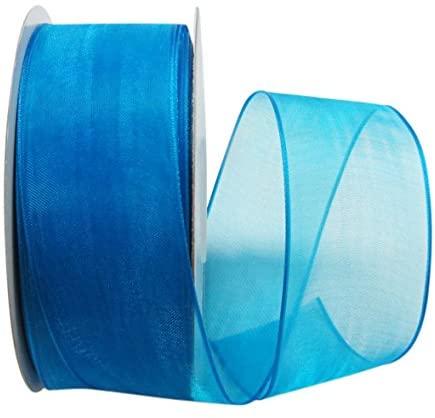 Ribbon Bazaar Wired Sheer Organza 1-1/2 inch Turquoise 25 Yards Ribbon