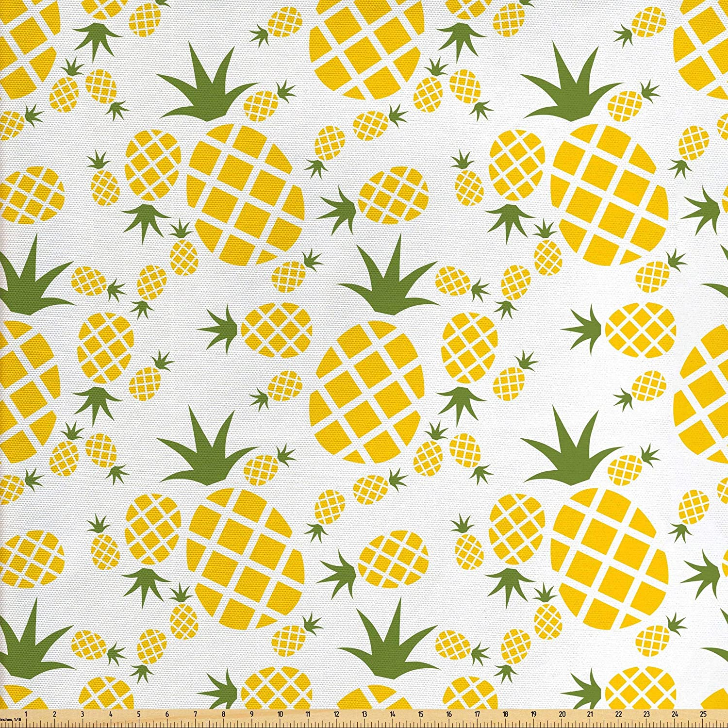 Lunarable Pineapple Fabric by The Yard, Pineapple in Pictogram Design Vintage Style Pattern Farm Vibrant Color, Decorative Fabric for Upholstery and Home Accents, 3 Yards, Green Olive