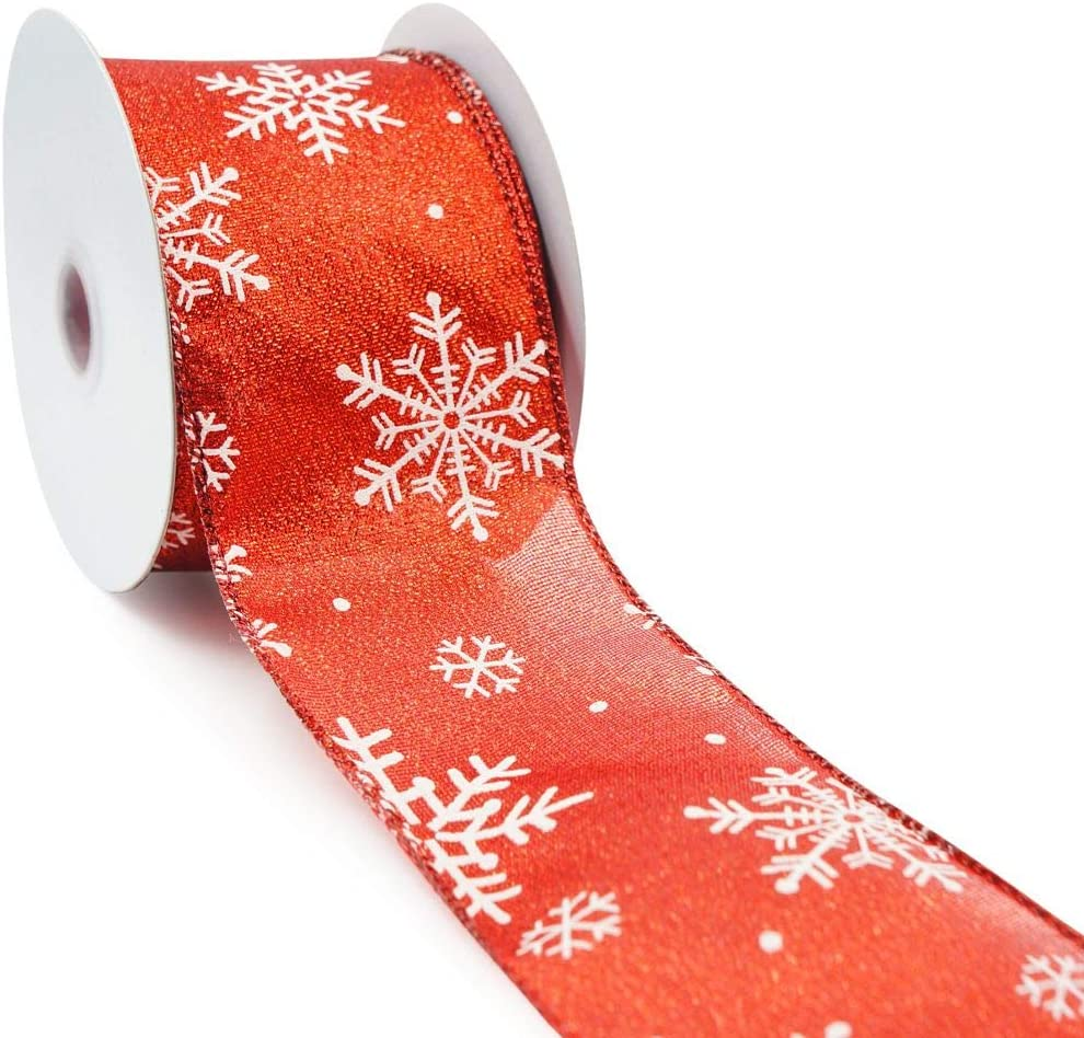 CT CRAFT LLC Red Metallic Fabric with White Snowflake Wired Ribbon - 2.5 Inch x 10 Yards x 1 Roll