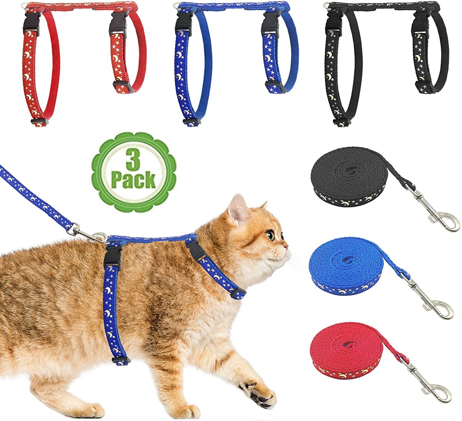 Bemix Pets Cat Harness with Leash, 3-Pack, Unique Stars and Moon Design, Escape Proof, Walking, Small Medium Large, Black, Red, Blue, Adjustable, Safe