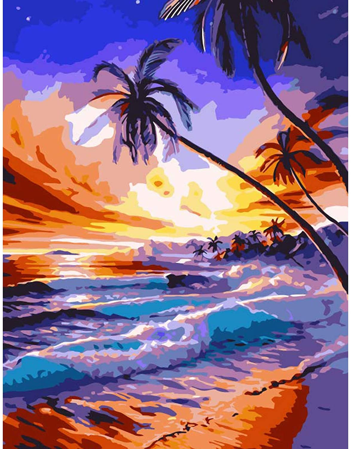 Lapoea DIY Oil Painting Paint by Number Kits Painting for Adults and Kids Arts Craft for Home Wall Decor Dusk Beach 40x50CM