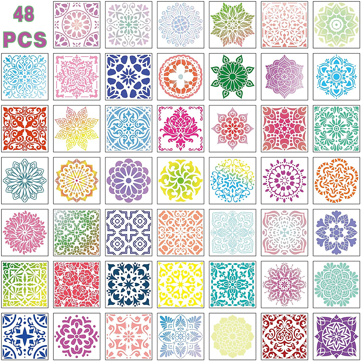 Mandala Painting Drawing Stencils Reusable-Dot Drawing Template Perfect for DIY-Decor, Wood, Airbrush, Rocks,Floor and Walls(5.9X5.9inch)48pack