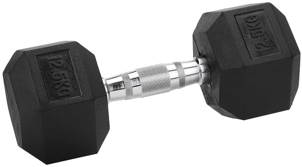 Dumbbell Set, 12.5kg Rubber Hex Exercise Dumbbell No Scrolling Easy to Install Home Gym Workout Fitness Equipment