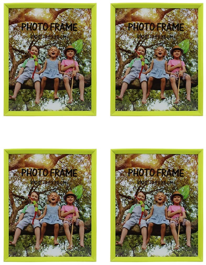 Picture Frame Plastic Size 8X10 Neon Green Color for Tabletop Stand 4-Pack