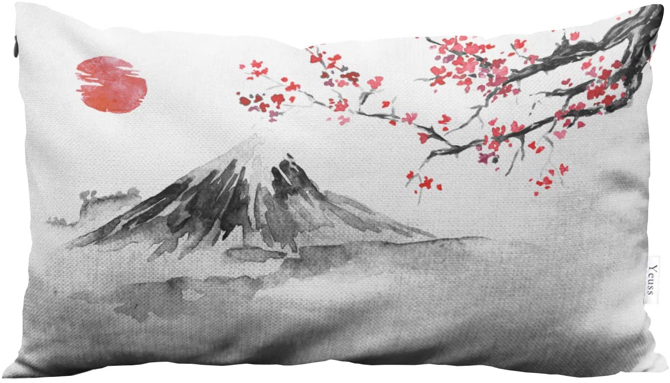 Yeuss Fuji Mountain Decorative Throw Pillow Cover Case Japanese Traditional Mount Fuji, Cherry Blossoms, Sun Sunset. Home Decorative Throw Pillow Cushion Cover 12X20 Inch Pillowcase