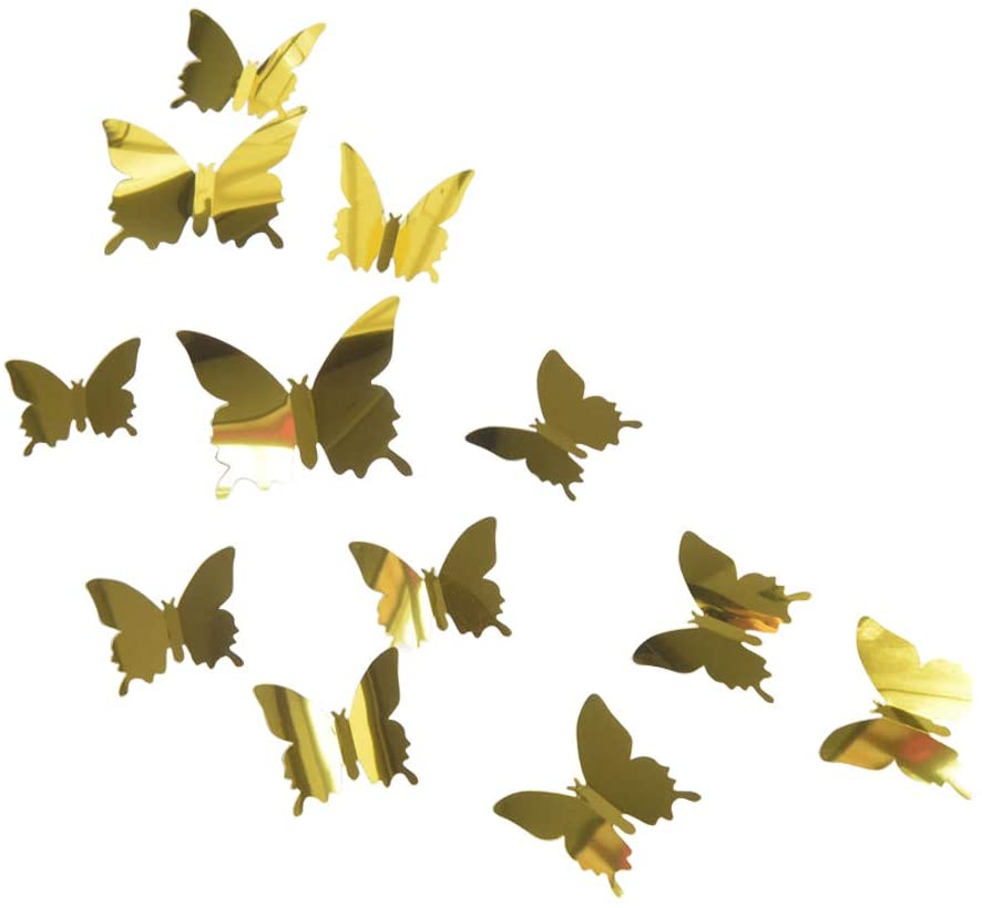 SLKIJDHFB 48 Pieces 3D Butterfly Mirror Wall Stickers DIY Wall Decals Easy Stick & Peel Home Party Wedding Decoration(3 Sizes, Gold)