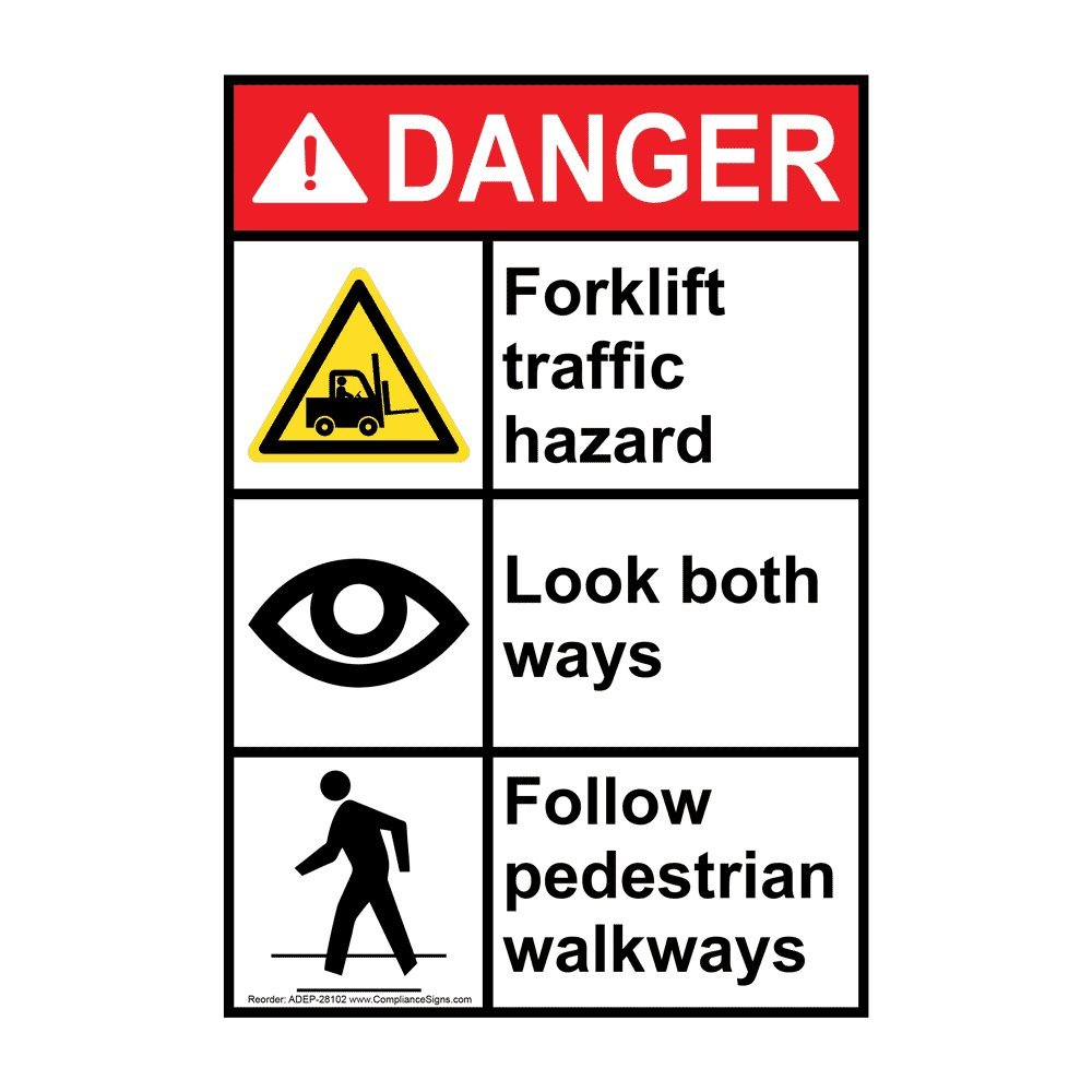 Vertical Danger Forklift Traffic Hazard Look Both Ways Follow Pedestrian Walkways ANSI Safety Sign, 10x7 in. Plastic for Machinery by ComplianceSigns