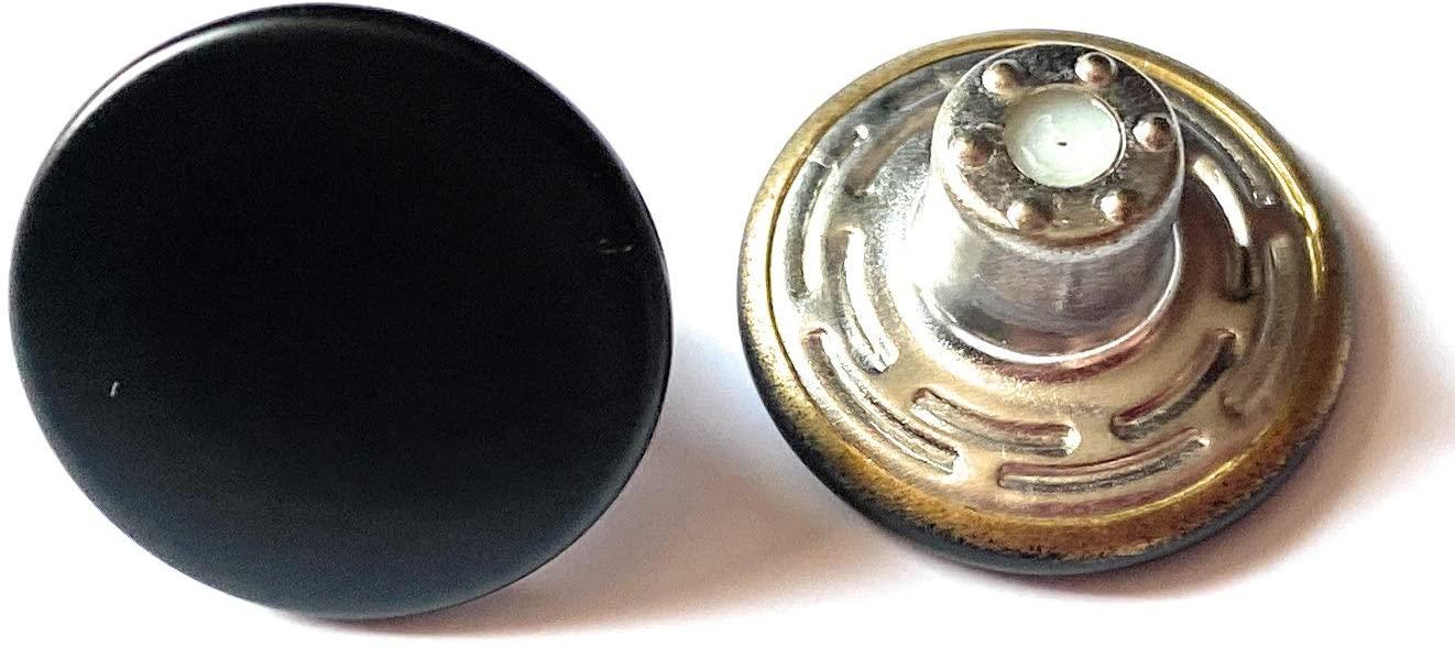 Jean Button 17 mm No-Sew Solid Tack (Matte Black Qty 20)