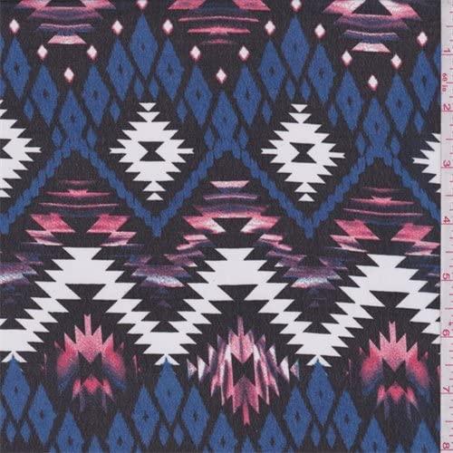 Black/Royal/Pink Aztec Polyester Chiffon, Fabric by The Yard