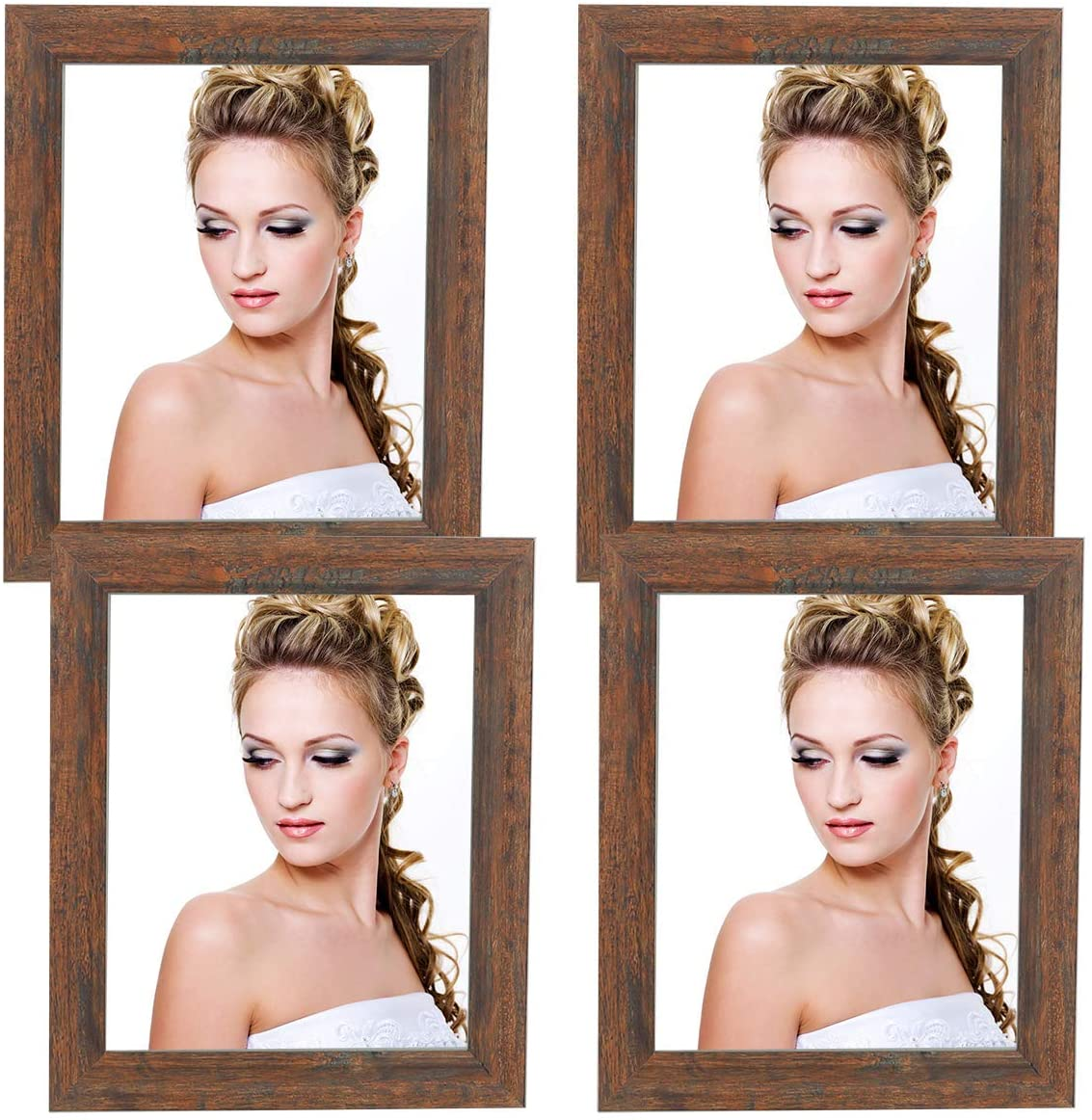 Generies JOOYHOOM 8 x 10 Inch Picture Frame, Burned Wood Rustic 8 x 10,Wooden Photo Frames 8 x 10 4Pack with High Definition Glass for Tabletop or Wall Dco Burned Rustic(YD-US001-BR-P10X8(4PK)