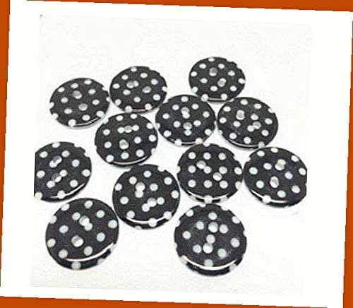 Lot of 10 Black White Dots 2-Hole White Resin Buttons for Sewing Scrapbooking and DIY Craft 11/16