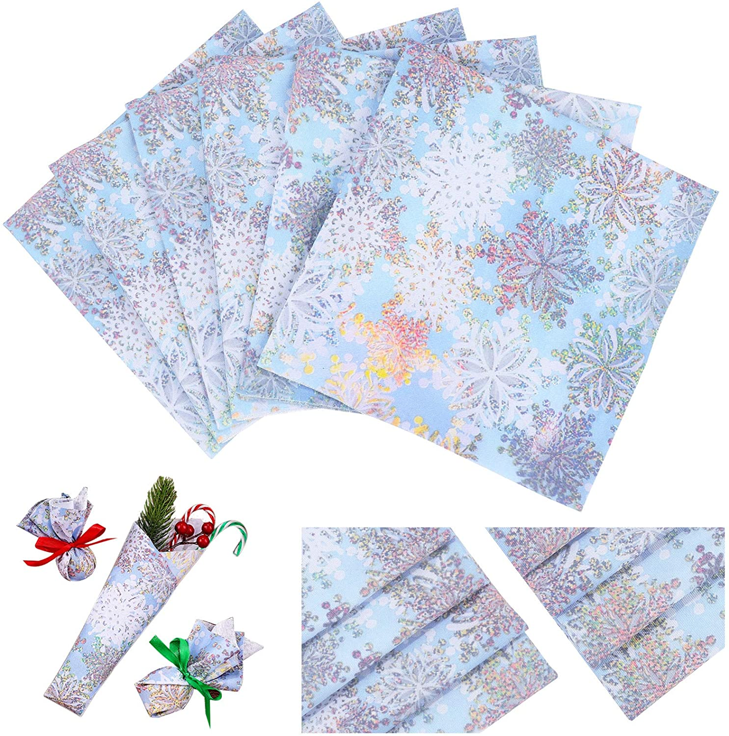 6 Pieces Poplin Cotton Fabric Fat Quarters 18 x 18 Inch/ 45 x 45 cm Snowflake Cotton Quilting Fabric Tie-Dyed Cotton Fabric Precut Fabric Square Patchwork for DIY Dressmaking Clothes Christmas