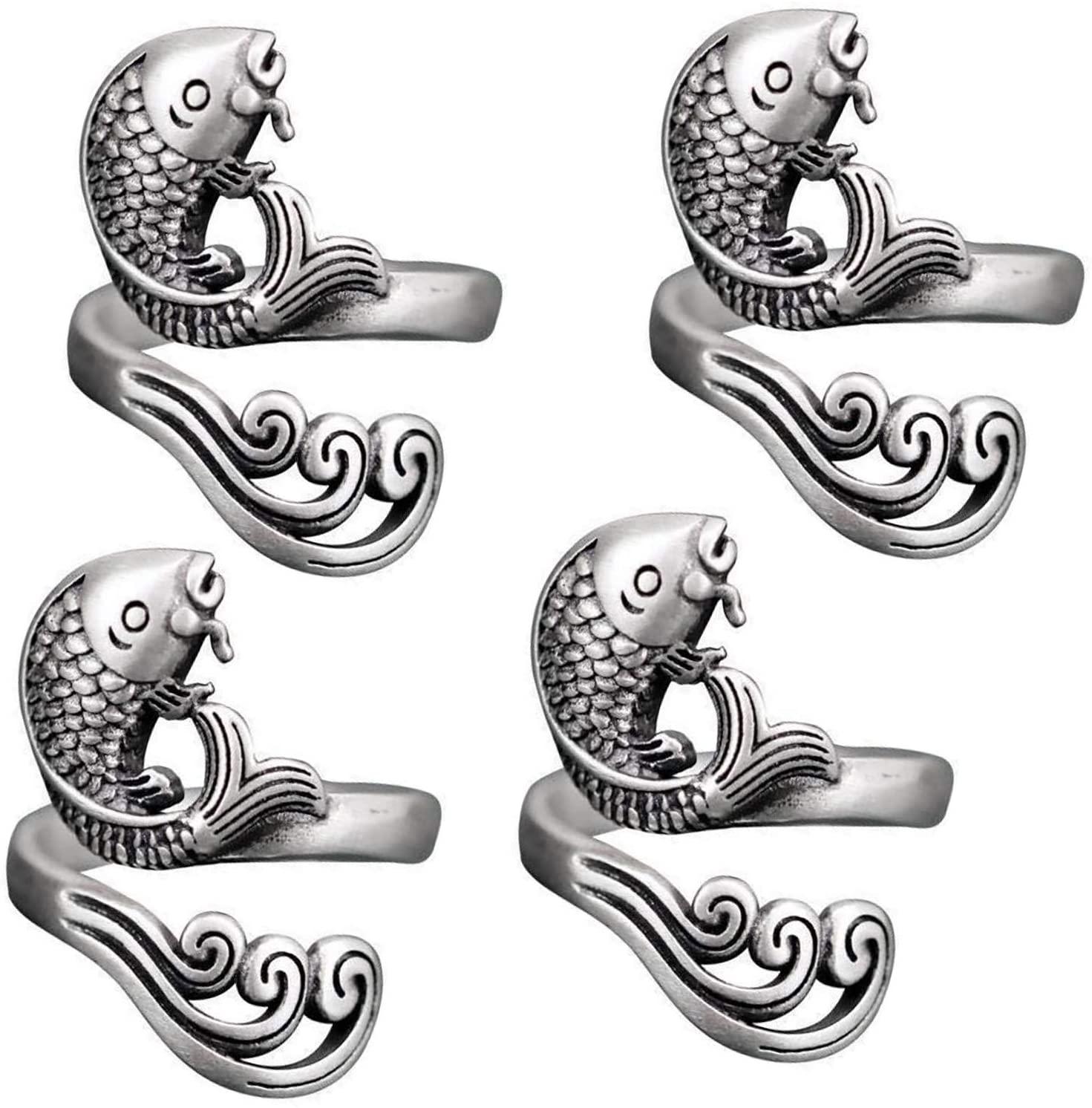 Adjustable Knitting Loop Crochet Ring Knitting Accessories, Peacock/Carp Open Finger Ring, Fashion Adjustable Braided Ring for Faster Knitting, Thimble Knitting Ring (Silver, 4PC)