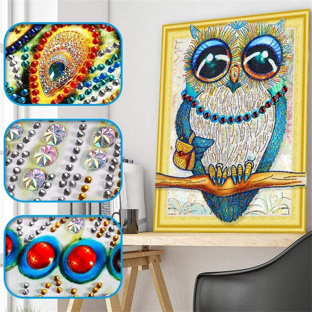 CHUNXIA Special Shaped Diamond Painting Handicraft Needlework 3D Drill Mosaic DIY Diamond Embroidery Blue Owe (Without Frame)40x50cm LP007