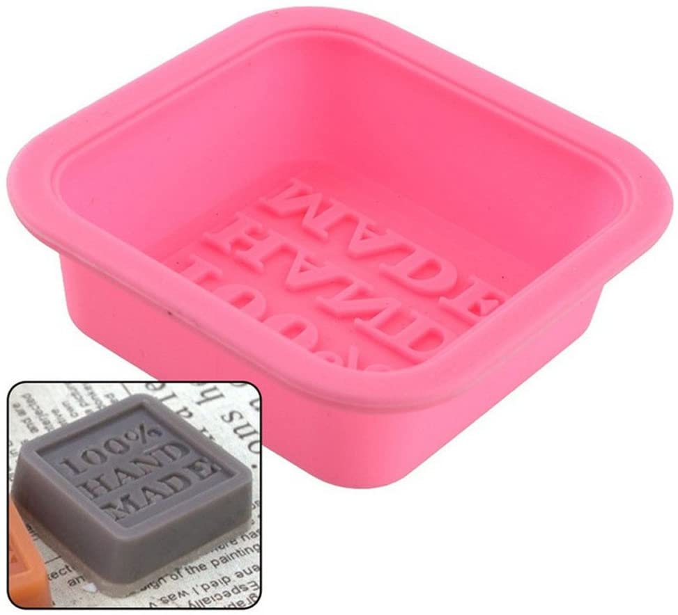 Fineday 6 Pcs Cute Craft Art Square Silicone Oven Handmade Soap Molds DIY Soap Mold, Cake Mould, Products for Christmas Day (Pink)