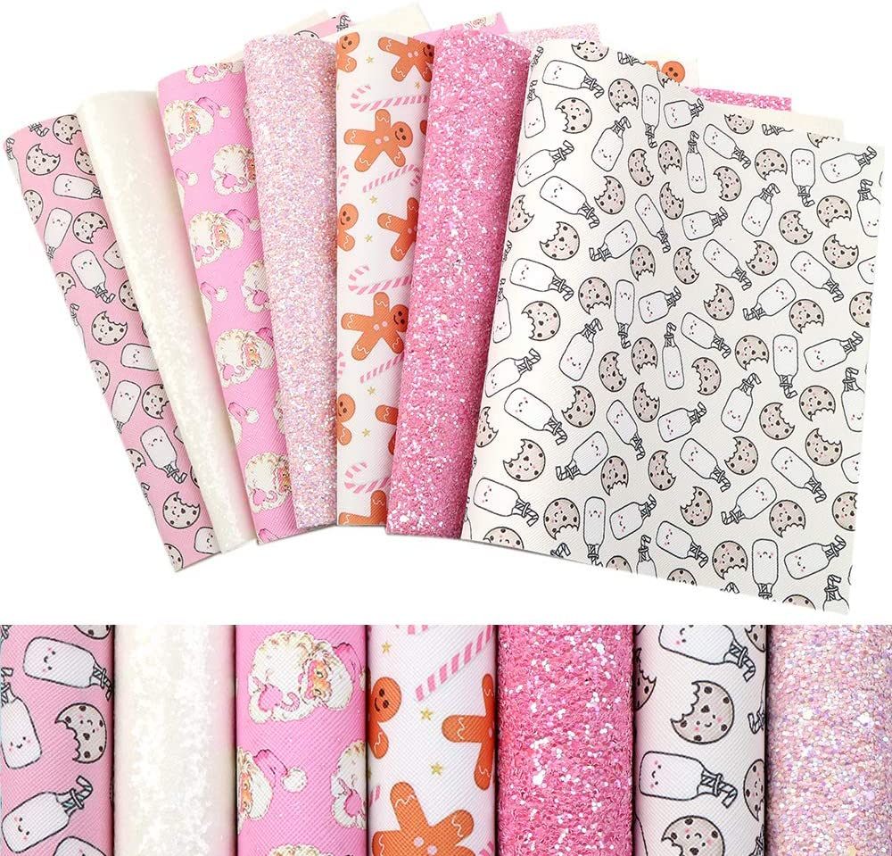 Christmas Faux Leather Sheets Fabric 7 Pcs 7.8x13.3(20cm x 34cm) Glitter Synthetic Leather for Earrings Bows Crafts DIY Festival Decoration (Pink)