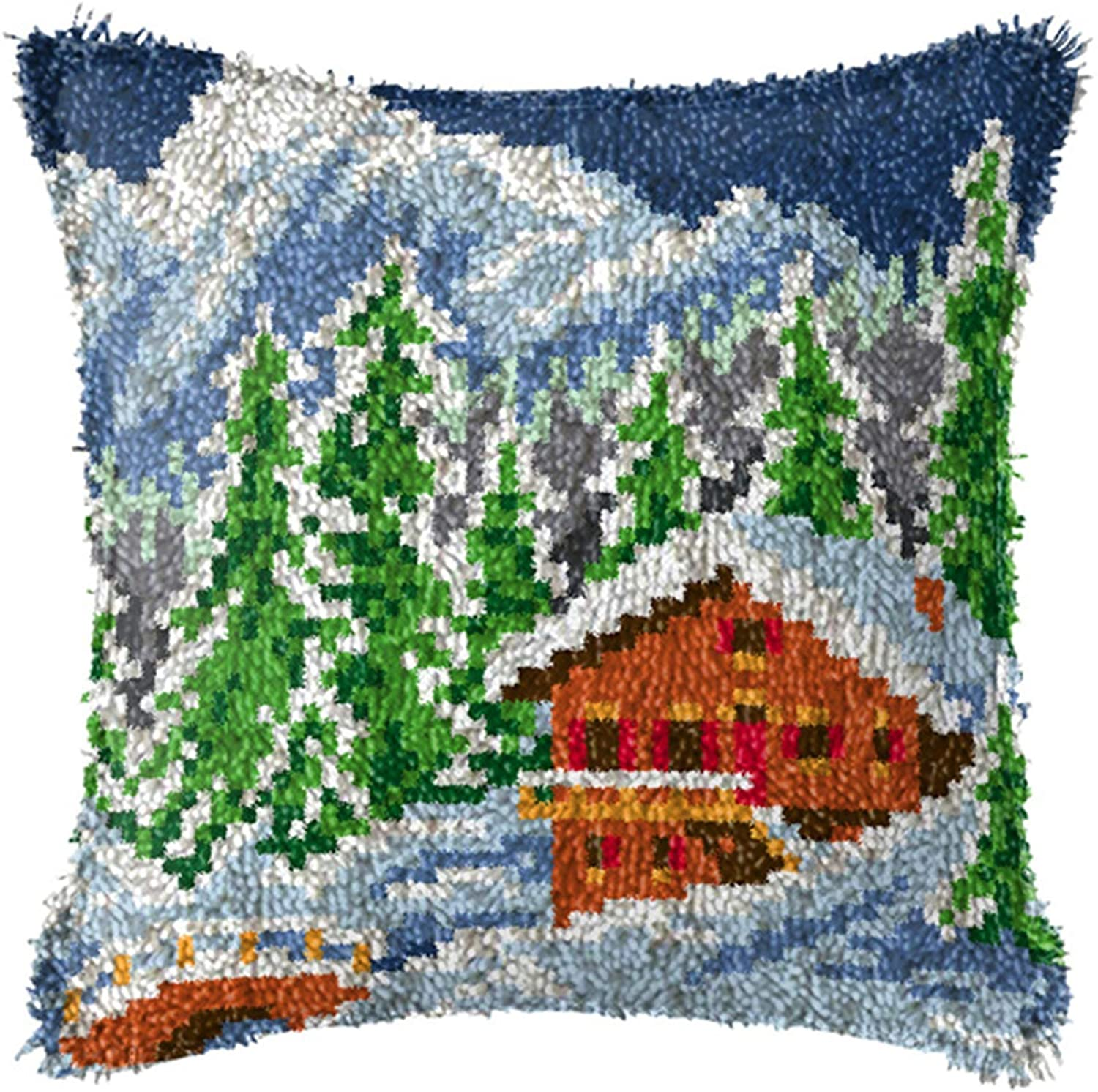 QJBMEI Latch Hook Kits, Landscape Printed DIY Pillow Cover Making Crafts Kit with Canvas for Kids/Adults and Beginner, 16.9X16.9 Inch,C,4343CM