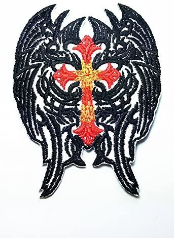 Red Cross Christian Jesus Angel Wings Black Feather Chain Lady Rider Biker Tattoo Motorcycle Biker Logo Jacket Vest shirt hat blanket backpack T shirt Patches Embroidered Appliques Symbol Badge Cloth Sign Costume Gift