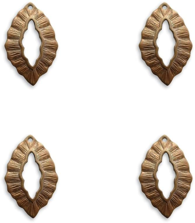 4 Vintaj Small Leaf Decorative Toggle Ring - 30x6mm (1 1/8 x 1/4 inch) TR40-Use as a Clasp or Charm. Great for Jewelry Making and Scrapbooking.