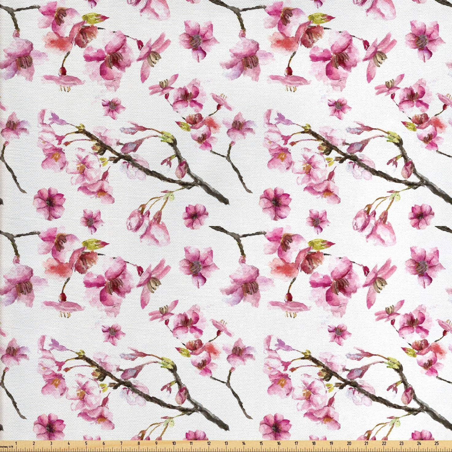 Ambesonne Cherry Blossom Fabric by The Yard, Watercolor Style Oriental Pattern with Sakura Branch, Decorative Fabric for Upholstery and Home Accents, 3 Yards, Green Brown