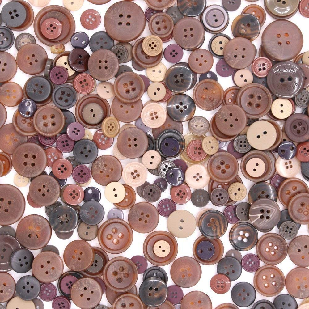 Esoca 650Pcs Brown Buttons for Crafts Basic Art Buttons Assorted Sizes Brown Craft Buttons for Arts, DIY Crafts, Decoration, Sewing