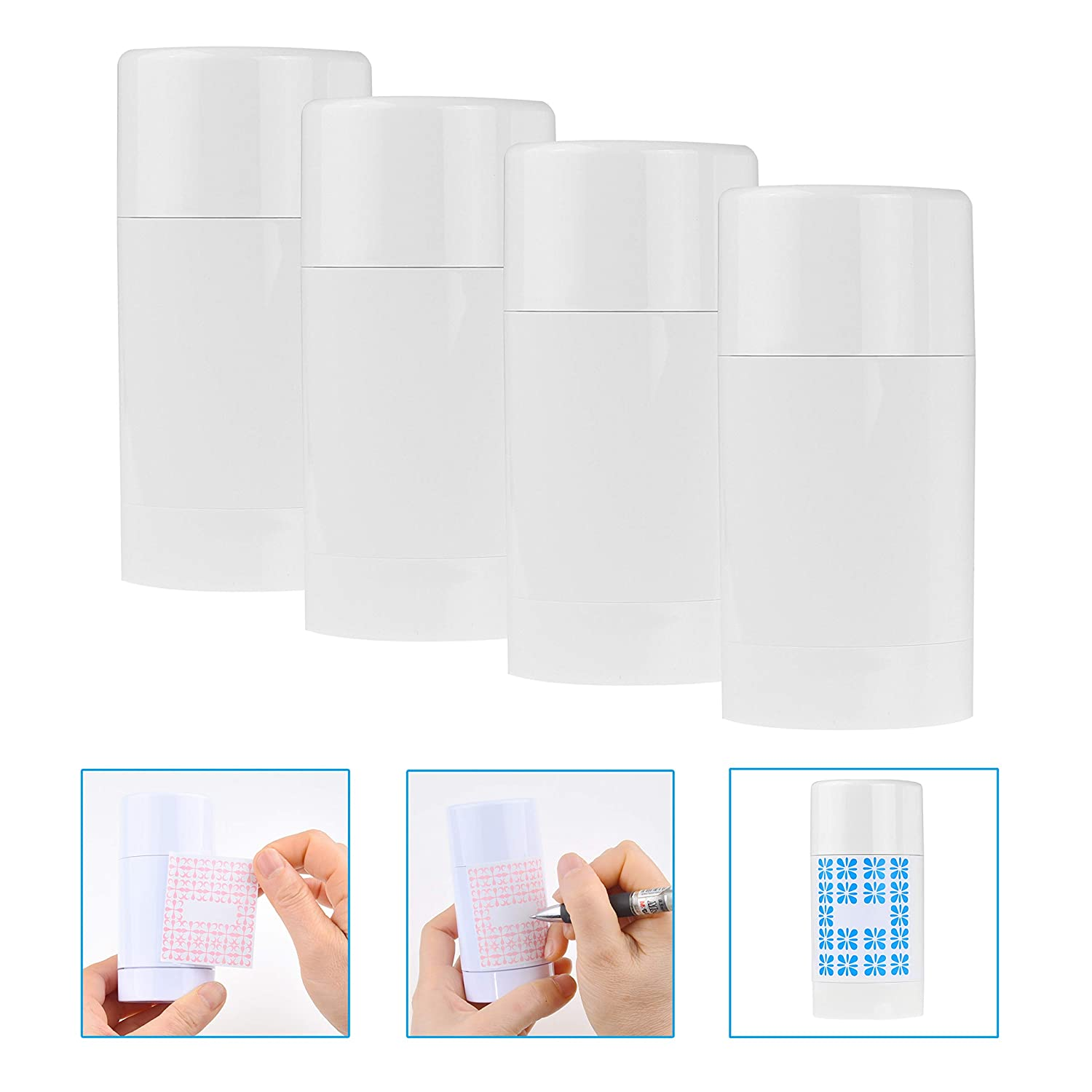 Kare & Kind Empty Deodorant Containers with Cap (4-Pack) - 75ml. - Top Fill with Twist Mechanism - 6 Writable Stickers - Refillable Cosmetic Tubes for Lip Balm, Solid Fragrance, Soap etc. - (White)