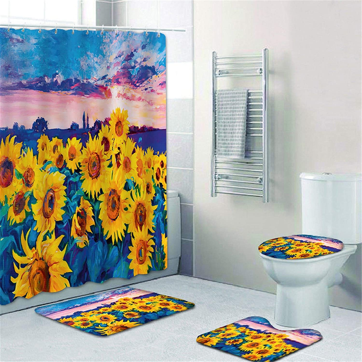 NMPPTM Sunflowers Shower Curtain Sets with Non-Slip Rugs, Toilet Lid Cover and Bath Mat, Pretty Flowers Shower Curtains with 12 Hooks, Durable Waterproof Bath Curtain