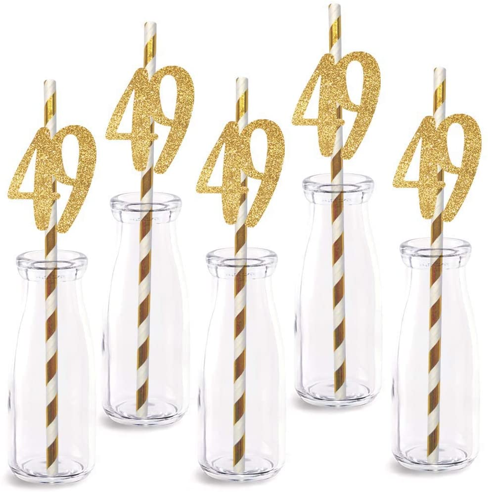 49th Birthday Paper Straw Decor, 24-Pack Real Gold Glitter Cut-Out Numbers Happy 49 Years Party Decorative Straws