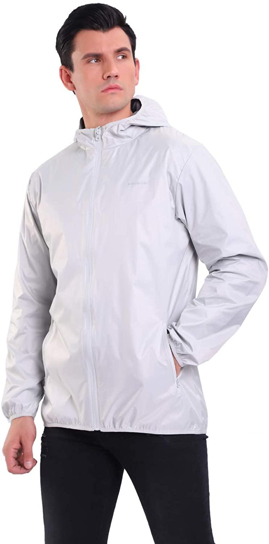 YINGJIELIDE Men's Waterproof Rain Jacket Hooded Outdoor Raincoat Lightweight Windbreaker