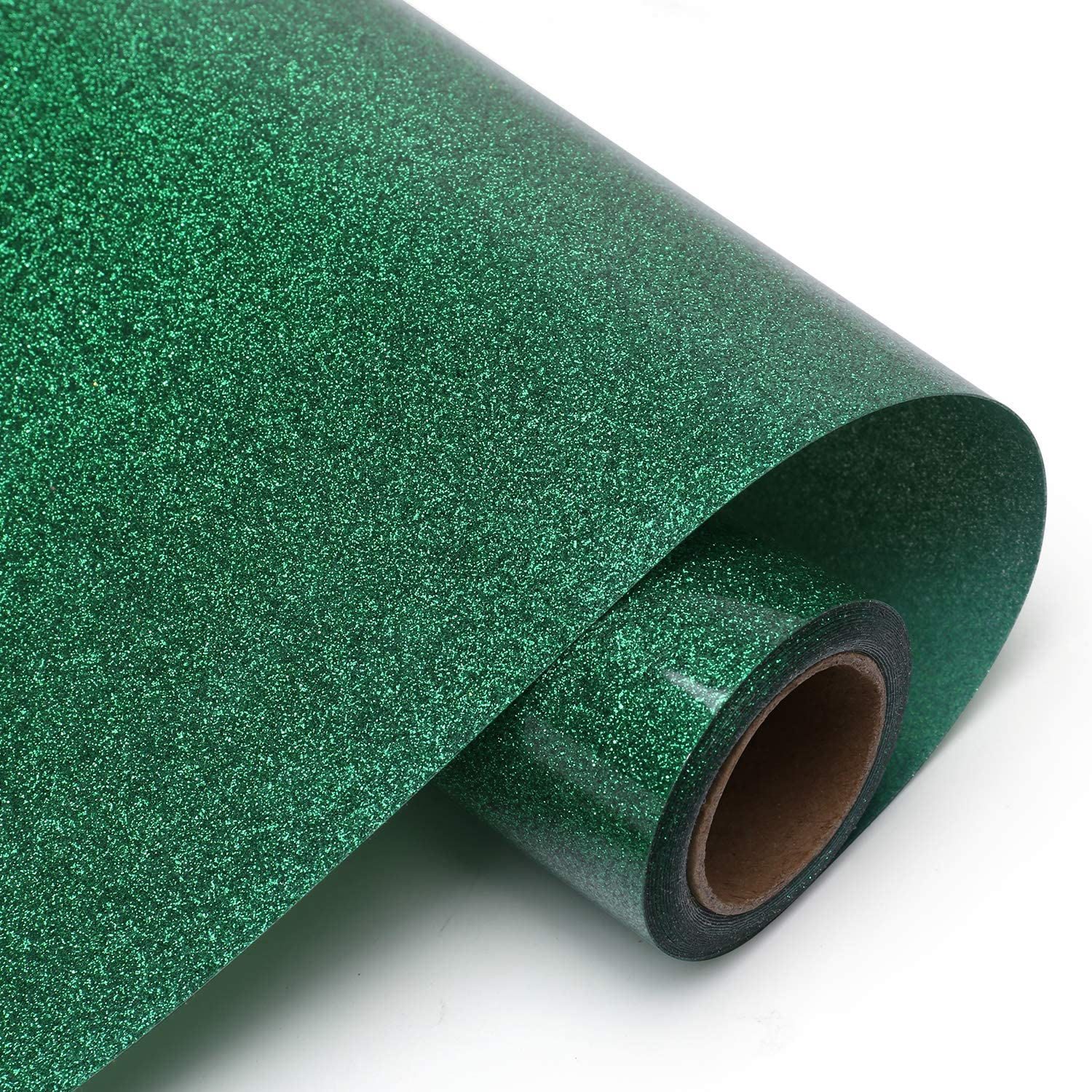 Cootack Glitter HTV Iron on Vinyl PU Heat Transfer Vinyl Easy to Cut & Weed & Heat Press for T-Shirts 10inch x 10feet Green