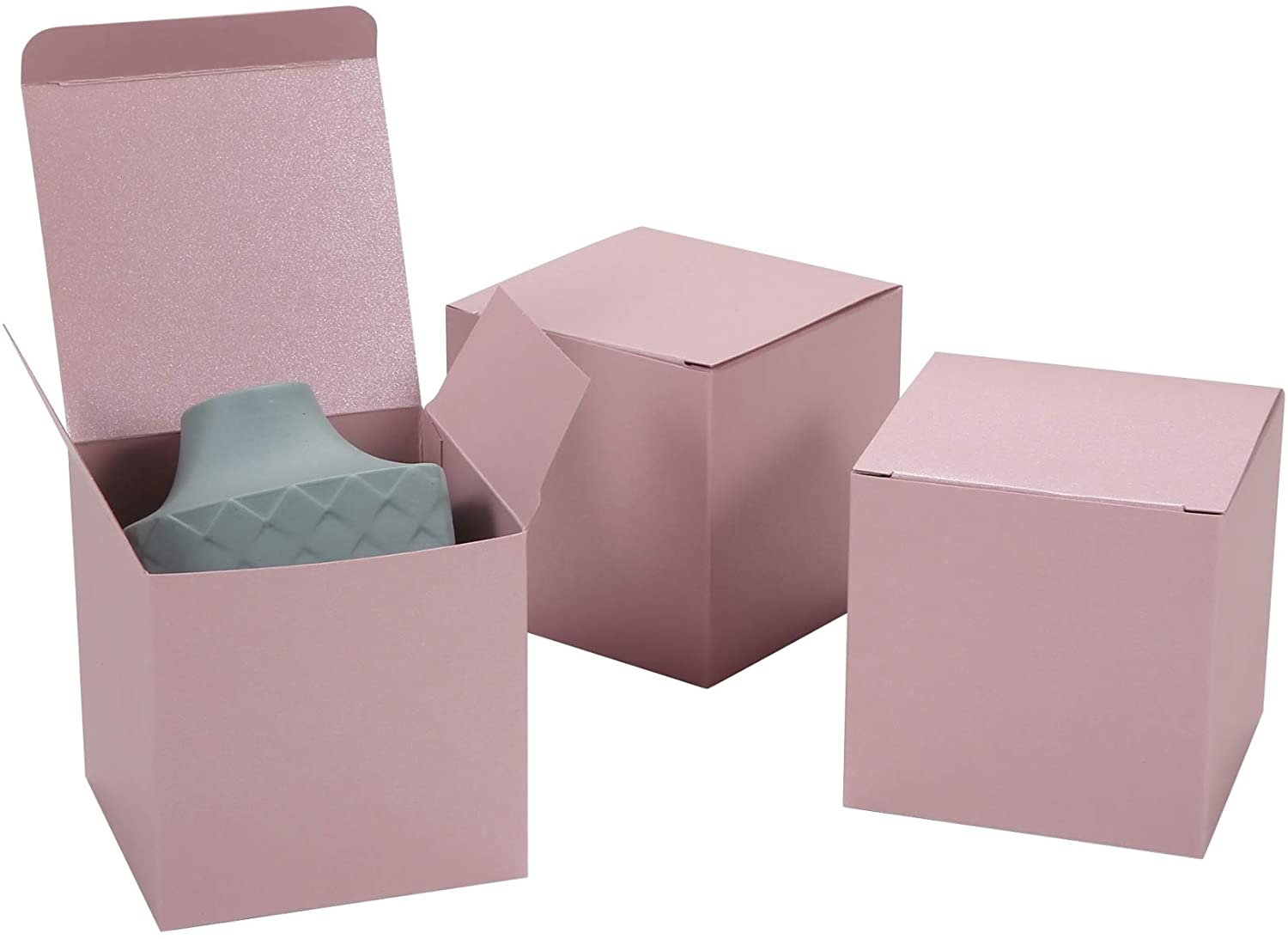 20ct Glitter Pink Paper Gift Boxes with Lids 3x3x3 inch - Vintage Pearlescent Paper Favor Boxes for Crafting Candy Cookie Cupcake Wedding Birthday Holiday Baby Shower (Pink)