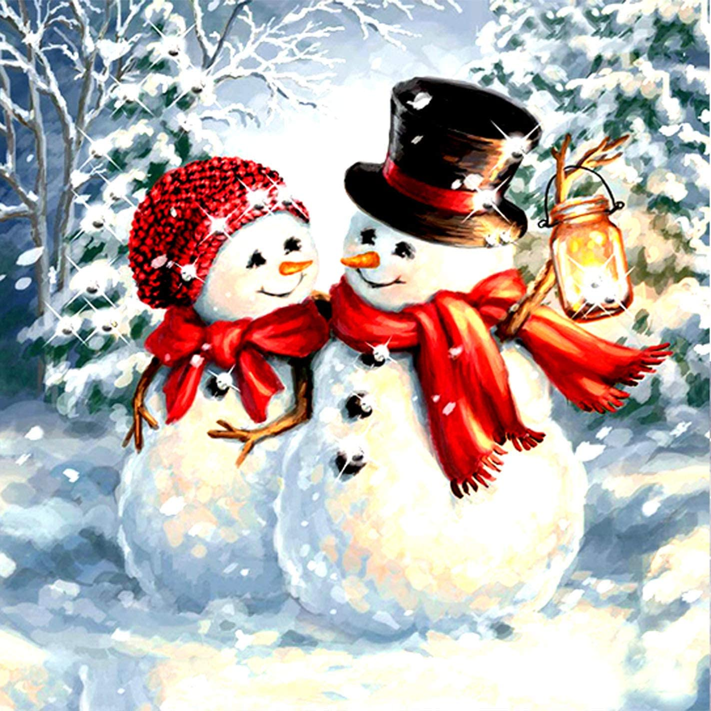 Bimkole 5D Diamond Painting Kits Snowman Couple, Full Drill Art Winter DIY Rhinestone Embroidery Set Paint with by Number Kits Cross Stitch Home Wall Craft Decoration (12x12inch)