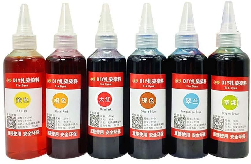 Muti-Color DIY Tie Dye Kits,Tie Dye Kits for Kids,6Bottles Kits Muti-Color Dyes Paint for DIY Arts Clothes,Tie Dye Kits for Adults,Dye for Clothes (A)