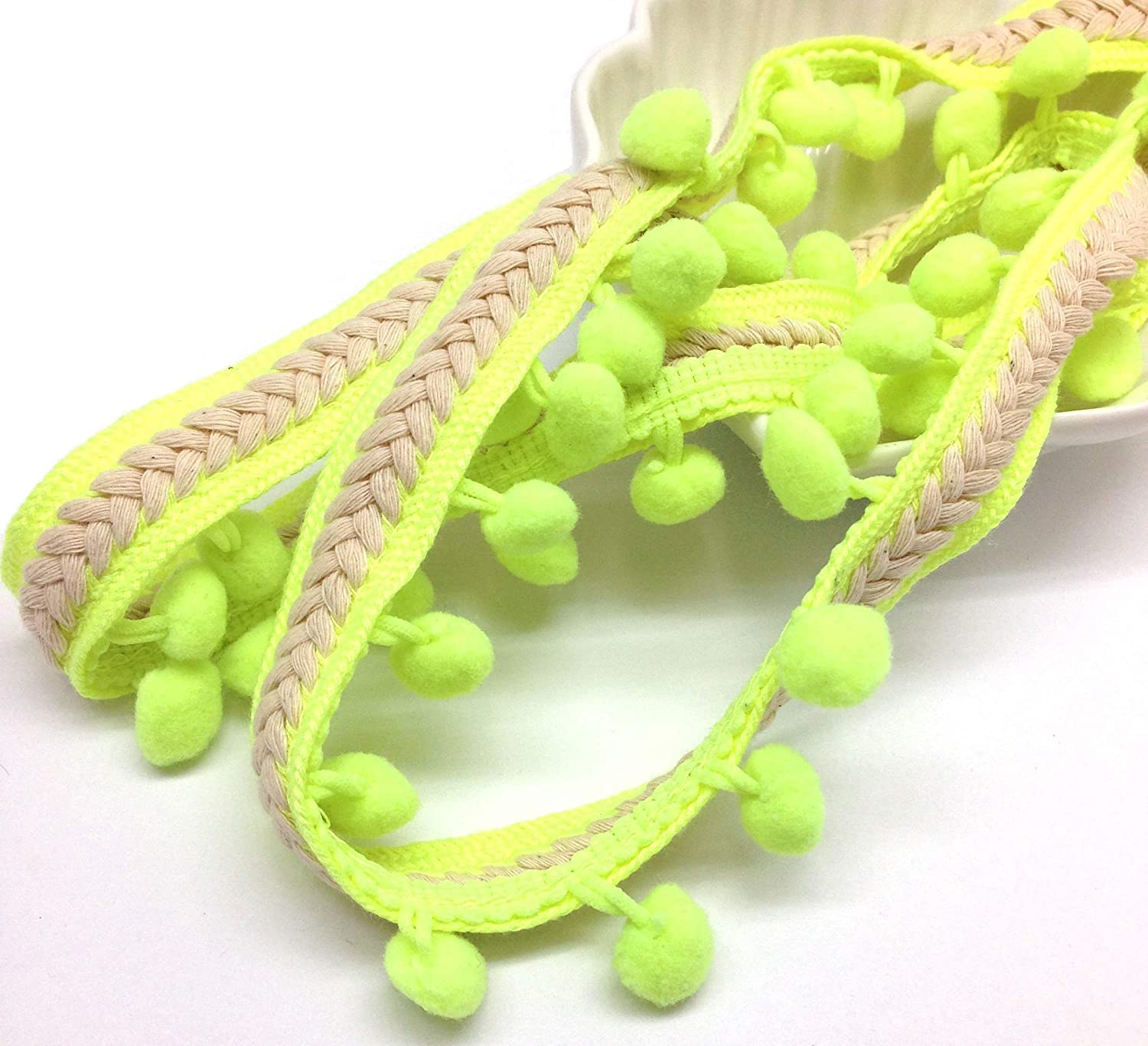 PEPPERLONELY 1 Meter (40 Inch) Yellow Pom Pom Trim Ball Sewing Accessories Lace Trim Cotton Ribbon, 35mm x 12mm